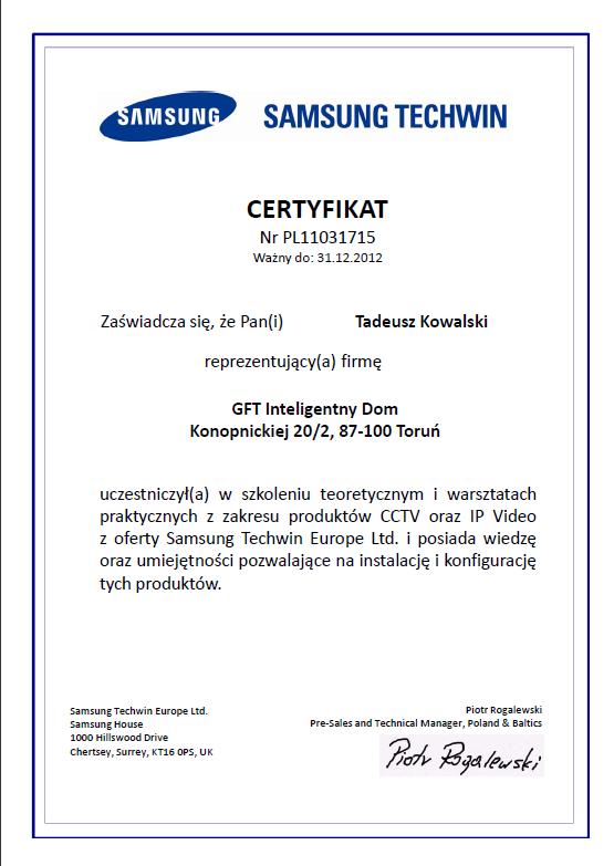Certyfikat Samsung
