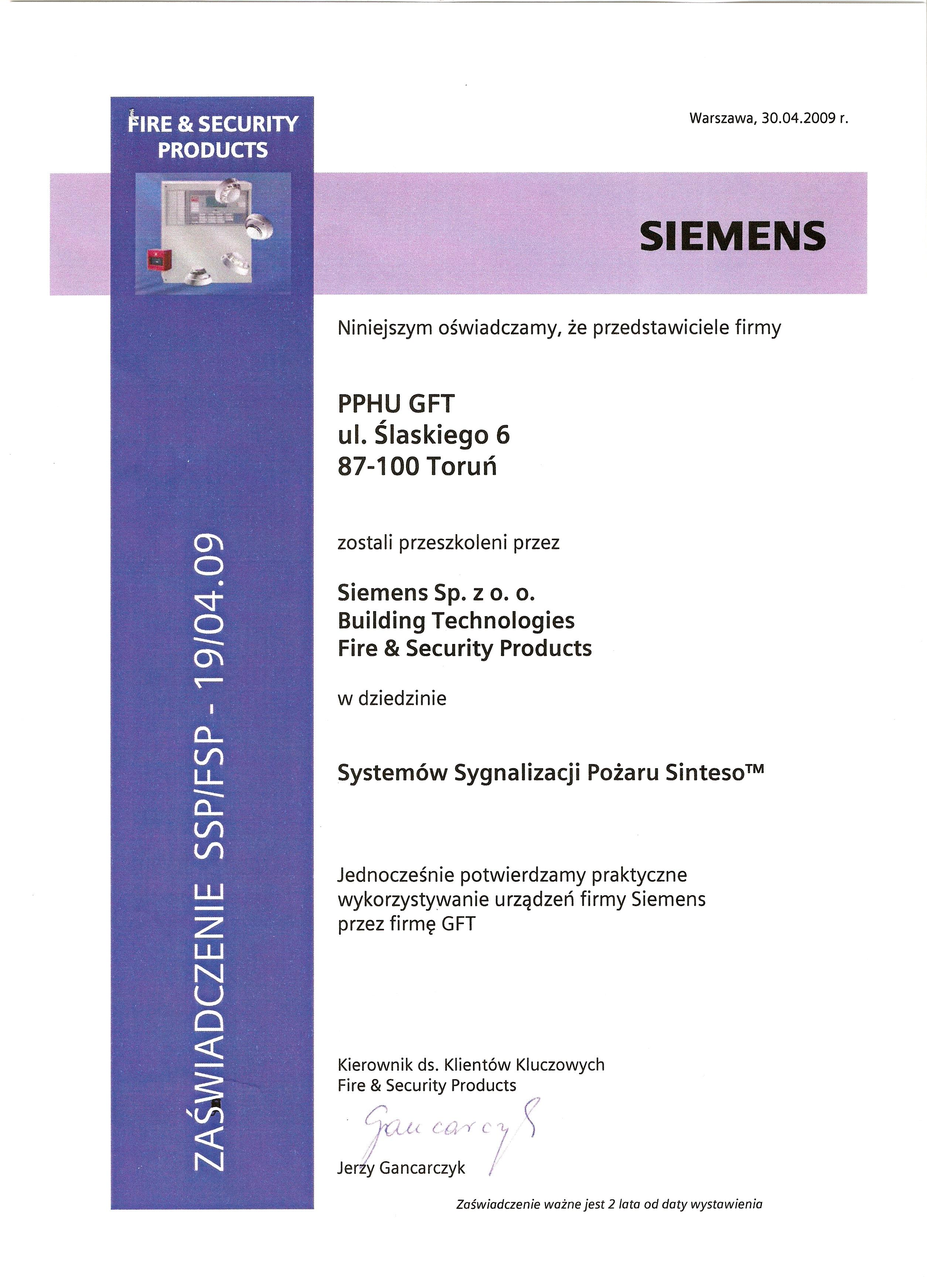 Certyfikat Siemens